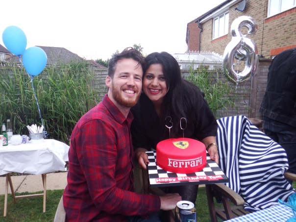 Thomas and Sonal with his birthday cake