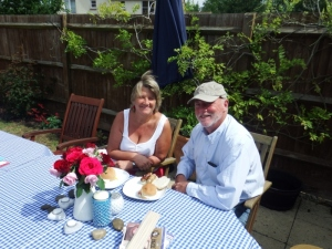 Father's day breakfast in the garden