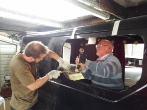 Working on the van