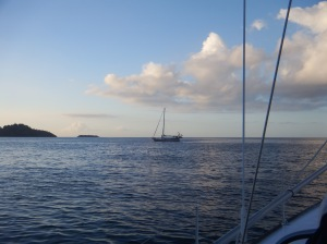 Tintin peacefully at anchor