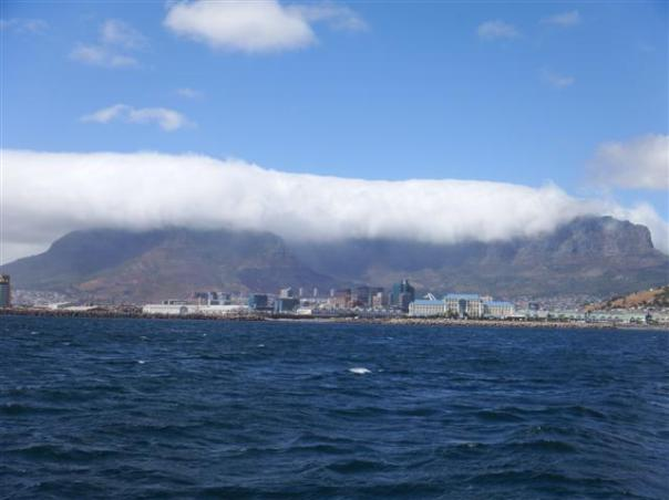 Our last view of Table mountain but it had it's 'tablecloth' on.