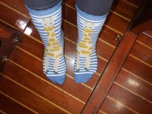 My lovely Giraffe socks - thank you Hailey